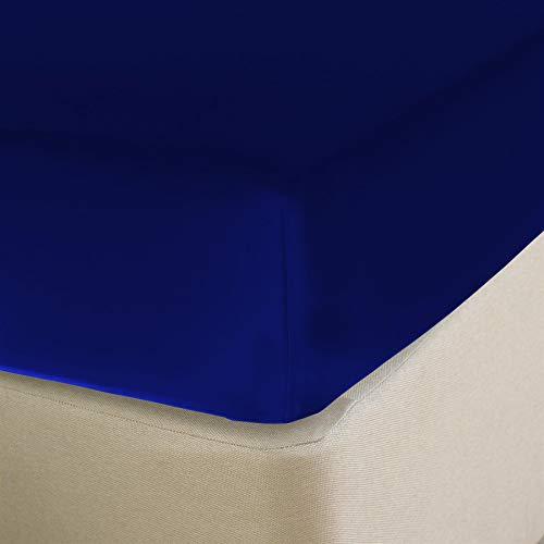 Nimsay Home Spannbettlaken für Einzelbett, Doppelbett, King-Size, Super-King-Size, 22,9 cm dick, unifarben, Poly-Baumwoll-Mischgewebe - Einzelbett - königsblau