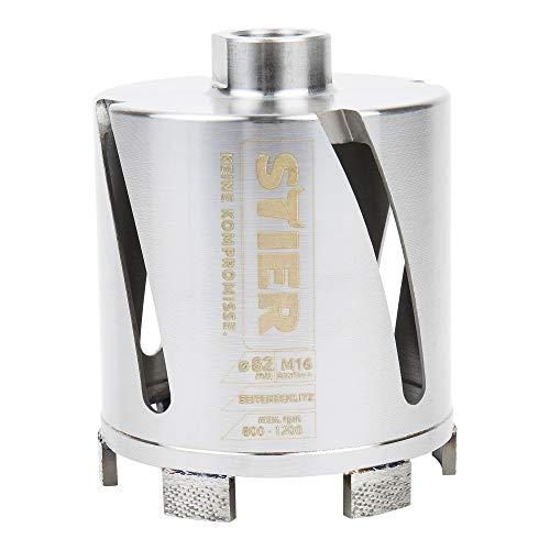 STIER Premium Diamant Dosensenker Mauerwerk Bohrkrone, Durchmesser: 82 mm, Bohrkopftiefe: 70 mm, M16, Seitenschlitze für Staubabtransport, Bohrkrone für Steckdosen, Dosenbohrer