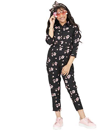 Uptownie Lite Girls Maxi Roll Up Jumpsuit (Printed Black,7-8 Years)