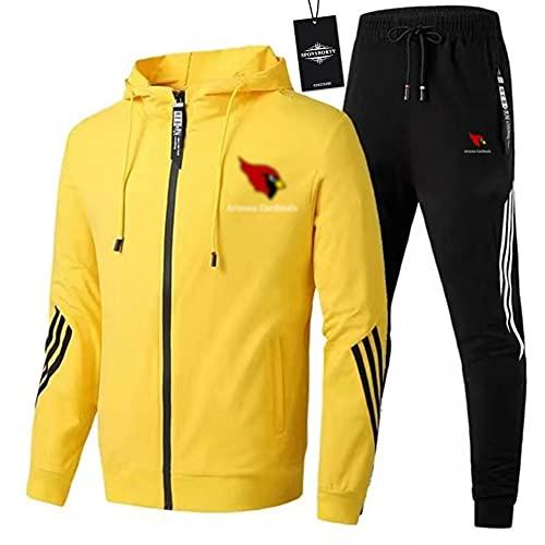JesUsAvila Hombres Chandal Conjunto Trotar Traje Cardinal.s Hooded Zipper Chaqueta + Pantalones Deporte Z Y/Amarillo/XL sponyborty