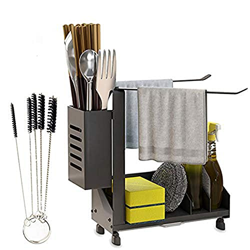 ConBlom Organizador de fregadero de acero inoxidable 304, soporte para utensilios de cocina con bandeja antigoteo, organizador de cocina, esponja, cepillo de jabón, color negro (20 x 8,5 x 24 cm)
