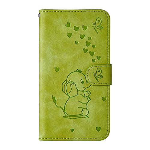 Ailisi Samsung Galaxy A8s Hülle, Karikatur Elefantenbaby Muster Leder Handyhülle Brieftasche Schutzhülle Leder Flip Hülle Wallet Cover Klapphüllen Tasche Etui mit Kartenfächern+Stand -Grün