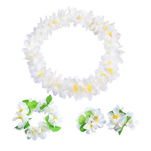 Amosfun Ghirlanda di Capelli hawaiani mercerati Artificiali Fiore Collana Braccialetto Beach Party Decorazione (Bianco) 4 Pezzi