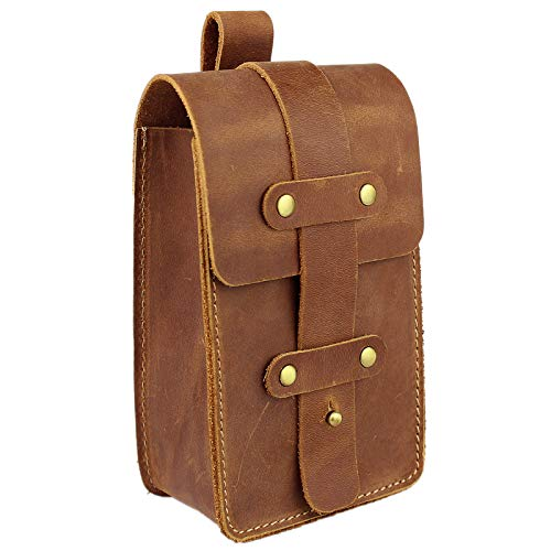 DK86 Leather Belt Pouch Waist Bag Fanny Pack, with Belt Loop, for Men and Women Vintage Brown