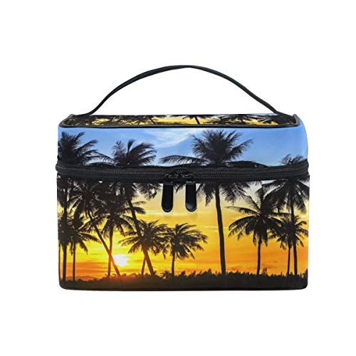 Size: 9x6.2x6.2 inches Print: entire printing Material: twill weave, microfiber leather, net pocket, elastic band Feature: many compartments inside in; it is very convenient for you to sort your stuffs; handle of the makeup bag which you can easily t...