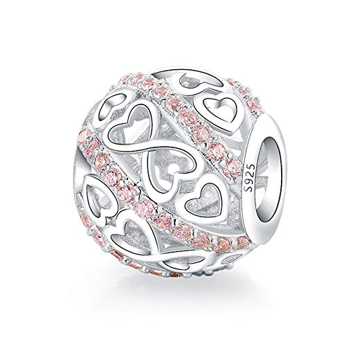 925 Sterling Silver Openwork Bead Charms Fit Pandora charms Bracelet and Necklaces Fit Women Wife Mom Daughter Christmas Birthday Gift