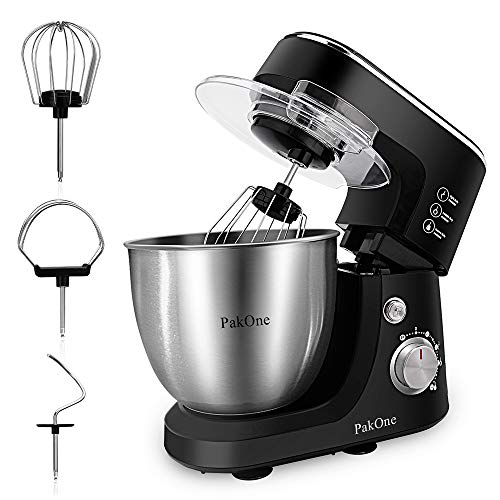 PakOne 5.5 QT Stand Mixer, 600W Tilt-Head Kitchen Electric Mixer with Dough Hook, Beater and Whisk, Multifunctional Food Mixer with Stainless Steel Bowl, Adjustable Speed (Stand Mixer)