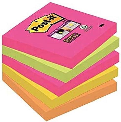 Post-It Super Sticky 654S-N - Pack de 5 blocs de notas, 90 hojas/bloc, Cape Town (Amarillo Neón/Verde Neón/Rosa Fucsi...