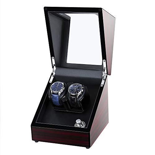 Kalawen Uhrenbeweger fur Automatikuhren 2 Uhren Watch Winder Box für alle Automatikuhren Mechanischen Uhren mit leisem Wechselstromadapter oder batteriebetrieben Rot