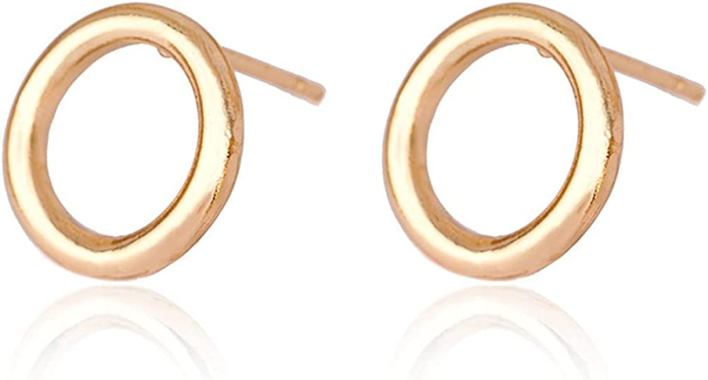 CHUNYANAN Elegant Gold Small Round Hollow Out Stud Hoop Earrings for Women Girls Minimalist Fashion Hypoallergenic Jewelry Gift