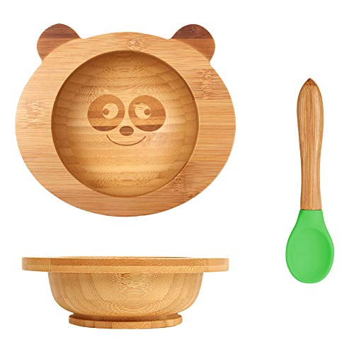 Kinder Bamboo Geschirr Set Kinderschüssel mit Saugnapf Baby Löffel (panda)