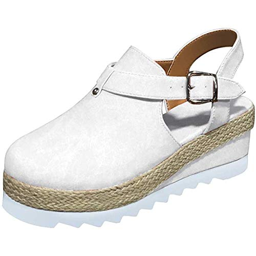Sandalias De Verano Para Mujer Sandalia De Plataforma Zapatos Con Hebilla De Punta Cerrada Correa De Tobillo Tacón Vintage Playa Alpargatas Sandalias Slip Mocasines Zapatillas Planas Antideslizantes