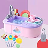 YYhkeby Cocina Playset Kids Finge Finge Wash-Up Cocina Fregadero Play Playset con Grifo de Agua eléctrica simulada (Color: Rosa. Jialele (Color : Pink, Size : 40x28x28cm)