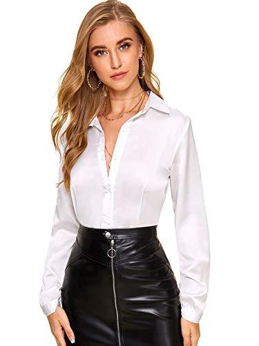 DIDK Damen Langarm Bluse Satin Oberteil Tunika Büro Shirts Elegant Tops Knopfleiste Hemd Oberteile Hemdbluse Einfarbig Stehkragen Weiß M