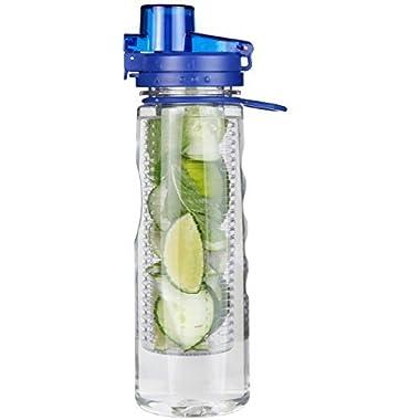 Infuser Water Bottle Leak Proof Flip-top Sport Water Bottle BPA-Free Tritan 25 Oz (Blue)
