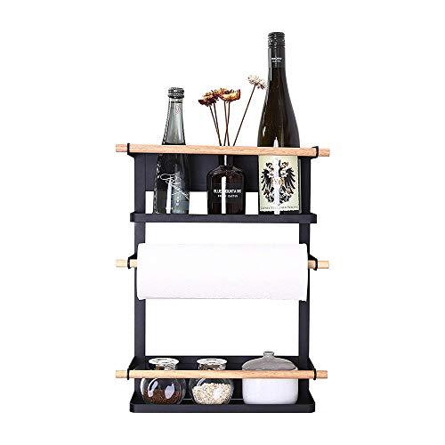 GJDBBLY Opbergkast, keukenrek, koelkast-organizerpapier, handdoekhouder, kruidenpotjesrek, koelkast-opslagrek, 6 haken