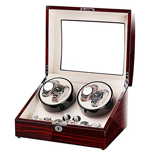 RTYUIO Relojes Caja enrolladora automática de Relojes Caja enrolladora de Relojes Rectángulo con luz Abrir la Tapa y Detener el Desgaste Protección Movimiento silencioso 5 programas Vida Interesante