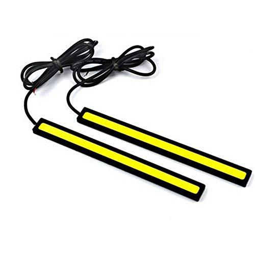 Lot de 2 bandes LED COB universelles de 17 cm pour feux de circulation diurnes, feux de brouillard, bandes lumineuses flexibles LED étanches 10–16 V (17 cm, blanc froid)