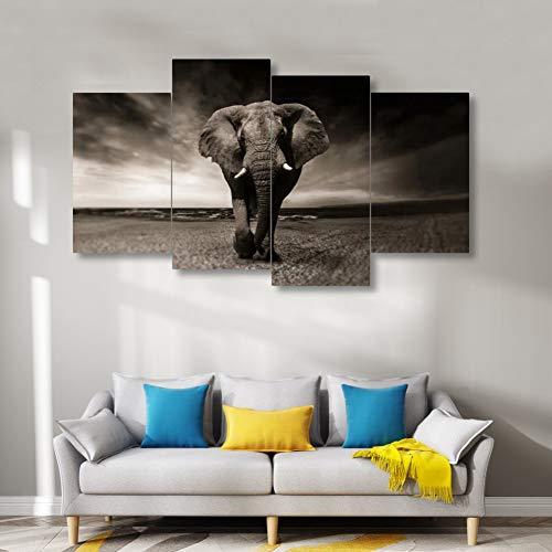 UDPBH 4 panelen olifant klaar om op te hangen kunst, olieverfschilderij, spiegel zonder lijst