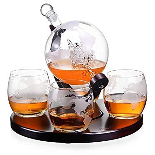FEE-ZC Creatieve wereld whisky decanter set gemaakt van set globes - 1000 ML met 4 set whisky glazen (300 ml) en veilig pakket - Scotch, Bourbon, Vodka en wijn