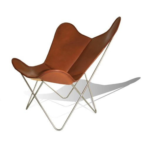 WEINBAUMS Hardoy Butterfly Chair Original - Silla de piel marrón tabaco