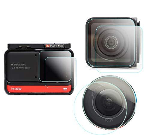 Protector de pantalla compatible con cámara de acción adaptativa Insta360 ONE R (edición doble) LCD + lente de gran angular 4K + lente de edición de 1 pulgada (6 Pack), KOMET vidrio templado