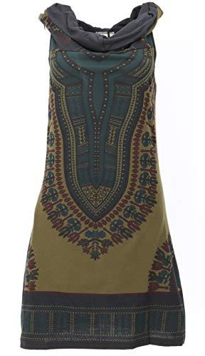 Guru-Shop Kapuzen Dashiki Minikleid, Goa Festivalkleid, Damen, Olivegrün, Baumwolle, Size:M/L (38/40), Kurze Kleider Alternative Bekleidung
