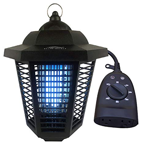 White Kaiman Electric Bug Zapper Outdoor Mosquito Lamp w/Photo-Sensor Timer- High Powered 2000 Volt Grid & 20W UV Tube Insect Attracting Mosquitoes ~ Killer Waterproof Bug Zapper