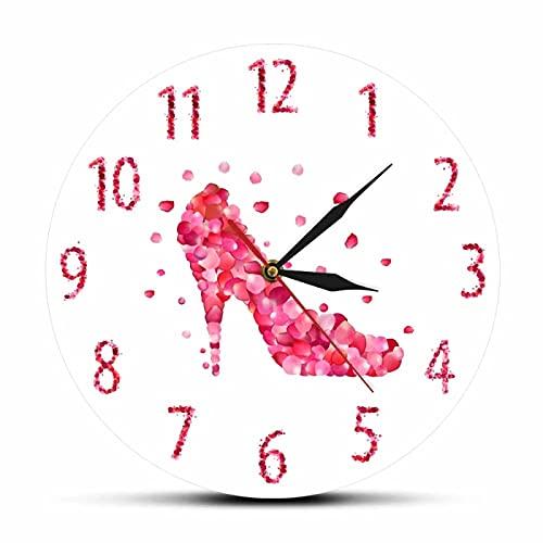 xinxin Reloj de Pared Estilo de pétalo de Rosa Rosa Zapatos de tacón Alto Reloj de Pared silencioso Arte de Pared de Moda Rosa Mujer Dormitorio Decoración del hogar Reloj de Pared Colgante