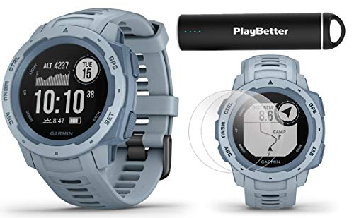 Garmin Instinct (Seafoam) Outdoor GPS Watch Power Bundle | with HD Screen Protector Film Pack & PlayBetter Portable Charger | Rugged, Waterproof | Heart Rate, TrackBack | Ultimate Outdoorsman Watch