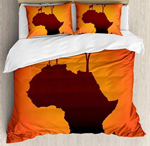 Ambesonne African Duvet Cover Set, Safari Map with Continent Giraffe and Tree Silhouette Savannah Wild Design, Decorative 3 Piece Bedding Set with 2 Pillow Shams, Queen Size, Orange Brown