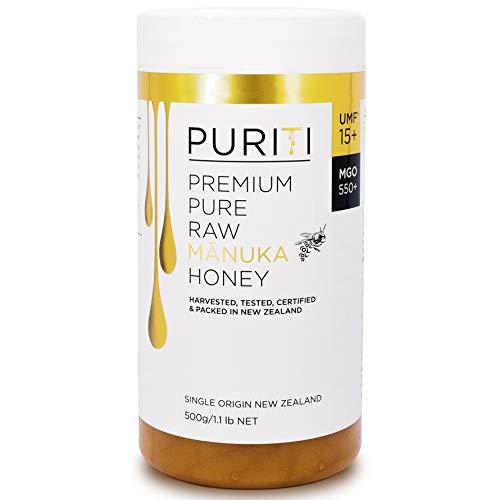 PURITI Manuka-Honig MGO 550+ 500g aus Neuseeland - zertifiziert, laborgeprüft, reines Naturprodukt, frei von Zusatzstoffen, Premium Qualität