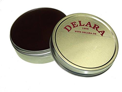 DELARA Hochwertiger Pflegebalsam für Leder mit Jojoba und Bienenwachs - schützt Glattleder wirksam vor Austrocknung und Oxidation, Farbe: Braun - Made in Germany