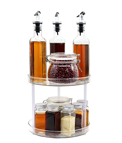 WAYDA 2Tier Lazy Susan Turntable 360 Degree Rotating Countertop Spice Rack Organizer Tray Food Storage Container for Cabinets Pantry Kitchen