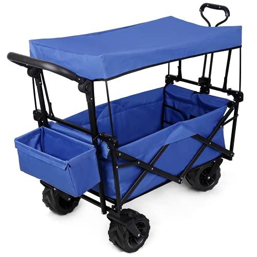 Chariot de Transport Pliable avec Toit 4 Roues Chariot de Jardin - Roues pivotantes à 360° - 2 Poches Filet - Charge maximale 100 kg - Remorque de Jardin (120 x 60 x 97 cm)