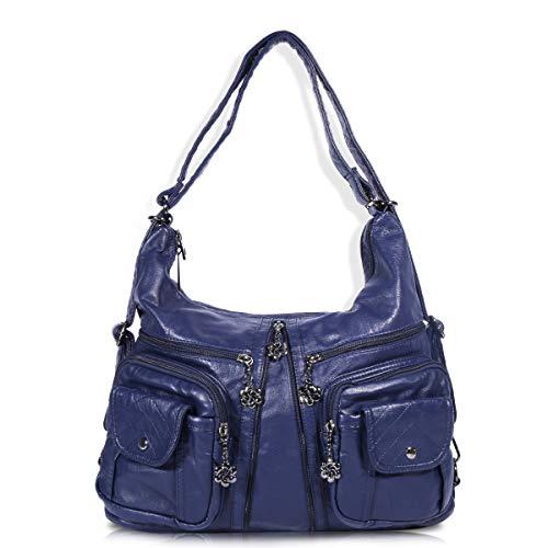 angel kiss Damen Schultertaschen Handtaschen Umhängetasche Hobo Tasche Rucksack Weiches Leder Crossbody Geldbörse mit Reißver Schlusstaschen Blau