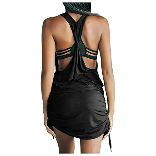 BIBOKAOKE Vestido de verano para mujer, cuello en V, espalda descubierta, vestido de tirantes, blusa, con cordón, minivestido, para el tiempo libre, para mujeres y niñas, vestido de fiesta