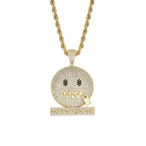 Collar con microincrustaciones de circonita, diseño de emoticono, decoración de disfraz de punk, dorado, L