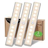 Luces Armario Pilas Sensor Movimiento Interior,Luz LED Cocina Debajo Mueble Tira Magnética Adhesiva Regleta 10 LED Escaleras iluminacion sin Cable Detector Movimiento Barra Luz Nocturna para Gabinete
