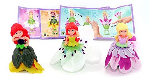 Kinder Überraschung Satz Flowee Mini 3 Figuren mit Zubehör (Sätze aus Deutschland). 3 Blumenfee Figuren