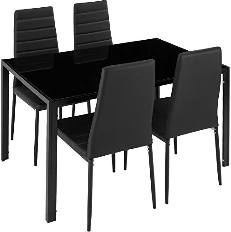 TecTake Esszimmergruppe mit Esstisch und 4 Essstühlen  Strapazierfhiges Kunstleder  Robuste Tischplatte aus Sicherheitsglas - Diverse Farben (Schwarz  Nr. 402837)