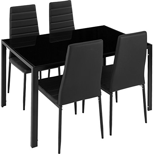 TecTake Table de Salle à Manger avec 4 chaises | Confort d'Assise très élevé | Plaque de Table Robuste en Verre trempé - diverses Couleurs (Noir | No. 402837)