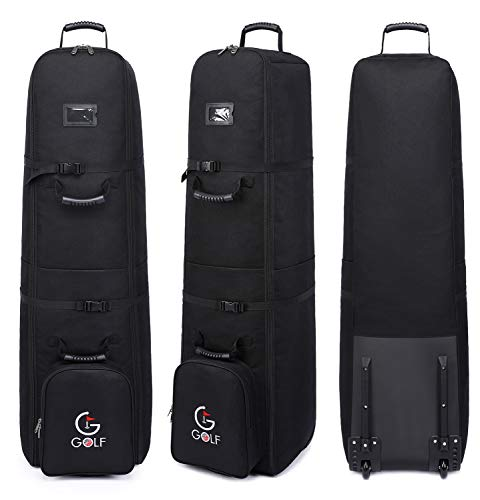 Thinksea Soft-Sided Golf Club Travel Bag Case with Wheels, Heavy Duty Polyester Oxford Wear Resistant Waterproof - 50 x 13.5 x 13.5 Inches, Black