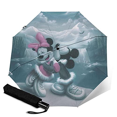 Minnie Mouse Paraguas automático de tres plegables, ligero y pequeño, doble propósito para lluvia y sol, parasol, protector solar y protección UV