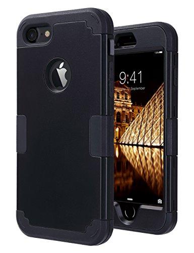 ULAK iPhone 7 Cover, iPhone 7 Custodia Ibrida a Protezione Integrale Cover per Apple iPhone 7 Case con Parte Esterna in 3 Strati di Morbido Silicone e Interno Rigido, Nero