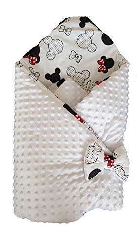 BlueberryShop Minky - Manta reversible para asiento de coche, saco de dormir para recién nacido,Baby Shower (0-3 m) (78 x 78 cm), color blanco