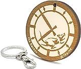 LIKY ® Banksy Reloj Rata Clock Rat - llavero original de madera grabado regalo para día del padre hombre mujer cumpleaños pasapiempo colgante bolso mochila