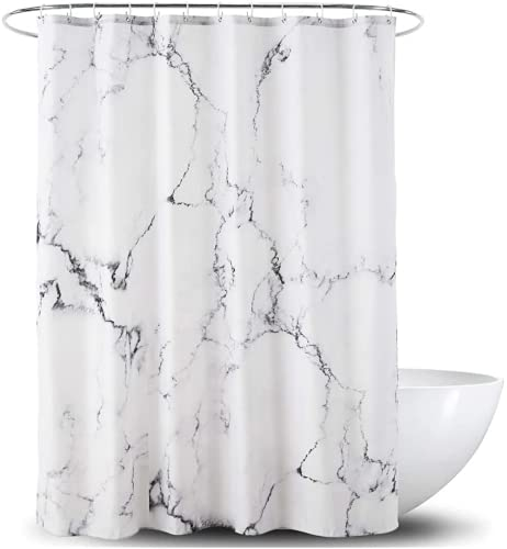 Destfun Duschvorhang aus Polyester Stoff Wasserdicht mit Beschwerter Saum Waschbarer Anti-Schimmel Textil Duschvorhänge Marmor für Badezimmer Badewanne mit 12 Duschvorhangringen (#2,180x200cm)