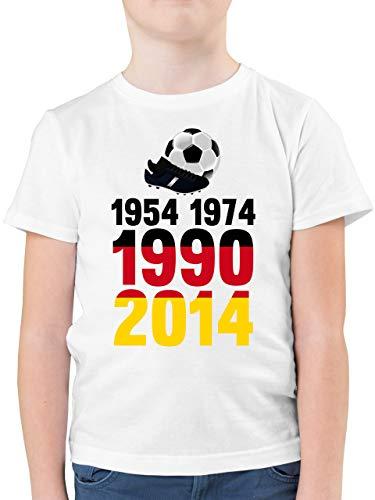 Fußball-Europameisterschaft 2021 Kinder - 1954, 1974, 1990, 2014 - WM 2018 Weltmeister Deutschland - 128 (7/8 Jahre) - Weiß - Deutschland Trikot 1990 - F130K - Kinder Tshirts und T-Shirt für Jungen