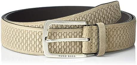 BOSS HUGO BOSS Men's Suede HB Logo Belt, light brown, 44